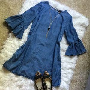 Denim bell sleeve tencel dress size 10 EUC